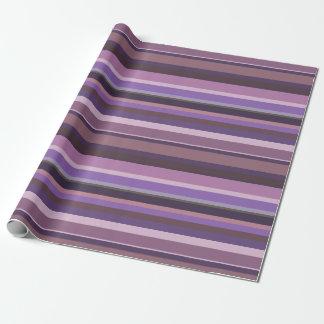 Mauve horizontal stripes wrapping paper