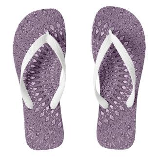 Mauve mandala flip flops