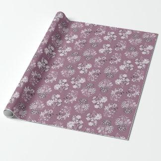 Mauve Monochrome Floral Wrapping Paper