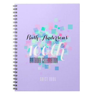 Mauve Pastel Colors 100th Birthday Party GuestBook Notebooks