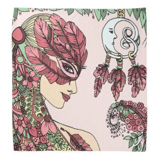Mauve Pink Feather Mask woman face yellow green Bandana