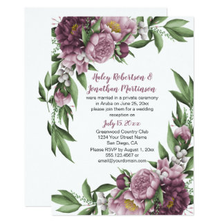 Mauve Pink Peonies Greenery Reception Only Card
