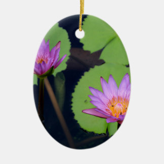Mauve pink water lilies ceramic ornament