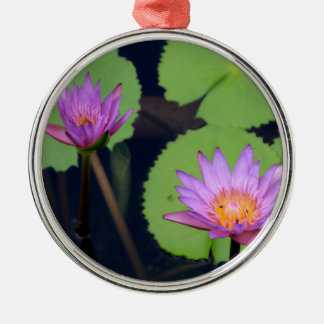 Mauve pink water lilies metal ornament
