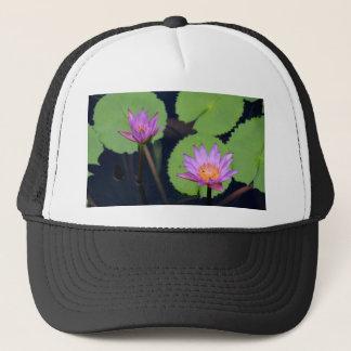 Mauve pink water lilies trucker hat