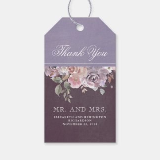 Mauve Plum and Lilac Vintage Floral Wedding Gift Tags