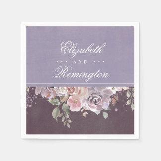 Mauve Plum and Lilac Vintage Floral Wedding Napkin