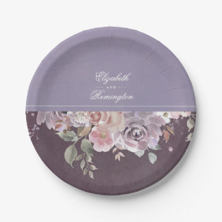 Mauve Plum and Lilac Vintage Floral Wedding Paper Plate