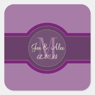 Mauve Purple Wedding Favour Stickers