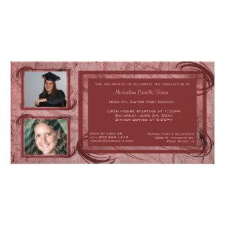 Mauve Scrolls Graduation Photo Invitation