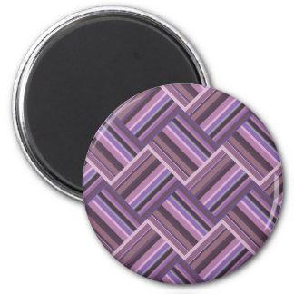 Mauve stripes diagonal weave pattern 2 inch round magnet