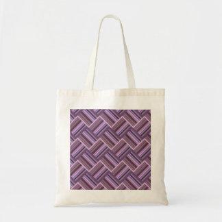 Mauve stripes diagonal weave pattern tote bag