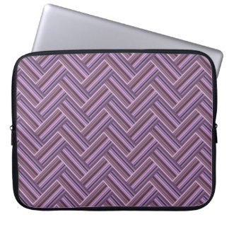 Mauve stripes double weave pattern laptop sleeve