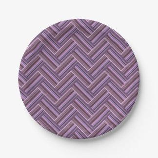 Mauve stripes double weave pattern paper plate