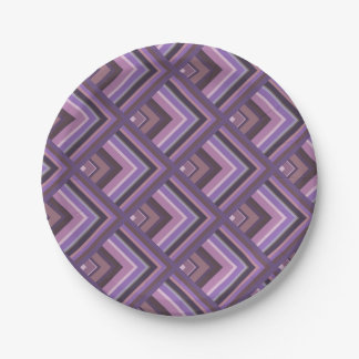 Mauve stripes scale pattern paper plate