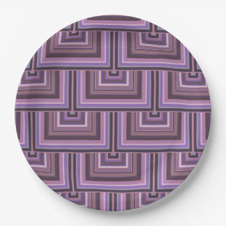 Mauve stripes square scales pattern 9 inch paper plate