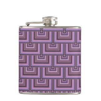 Mauve stripes square scales pattern hip flask