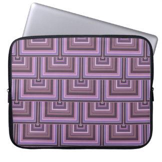 Mauve stripes square scales pattern laptop sleeve