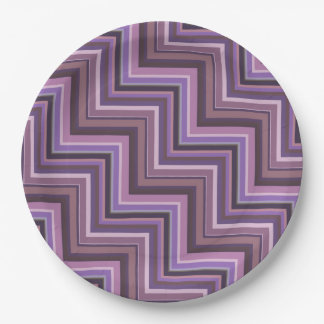 Mauve stripes stairs pattern paper plate