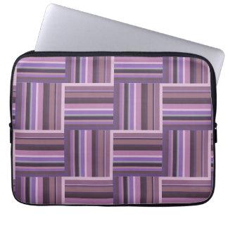 Mauve stripes weave pattern laptop sleeve