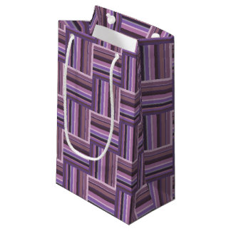 Mauve stripes weave pattern small gift bag