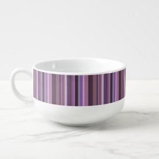 Mauve vertical stripes soup mug