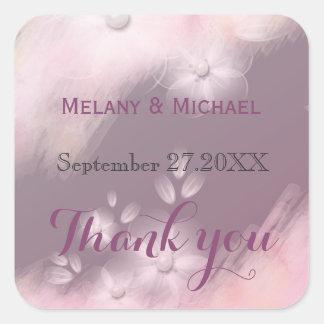 Mauve watercolor romantic floral pearl thank you square sticker