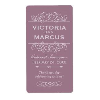 Mauve Wedding Wine Bottle Monogram Favor Labels