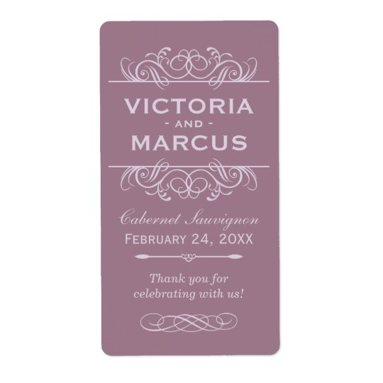Mauve Wedding Wine Bottle Monogram Favour Labels