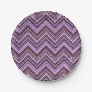 Mauve zigzag stripes 7 inch paper plate