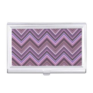 Mauve zigzag stripes business card holder