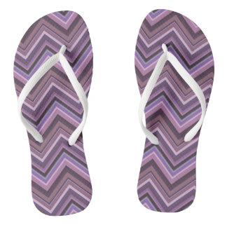 Mauve zigzag stripes flip flops