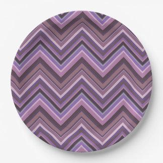 Mauve zigzag stripes paper plate