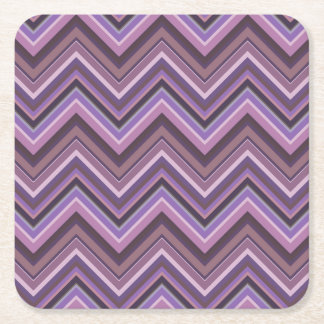 Mauve zigzag stripes square paper coaster