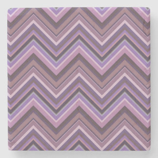 Mauve zigzag stripes stone coaster