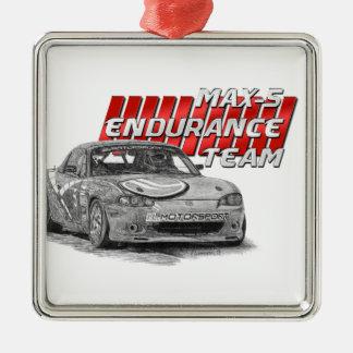MAX-5 Enduro Team Silver-Colored Square Ornament