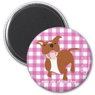 Max | Pink Gingham 2¼ Inch Round Magnet