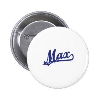 Max script logo in blue pinback buttons