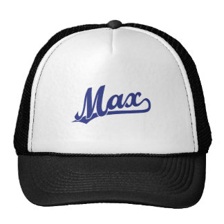 Max script logo in blue trucker hat