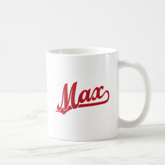 Max script logo in red coffee mug