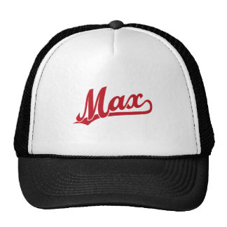Max script logo in red trucker hat
