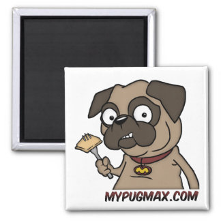 Max The Pug Square Magnet