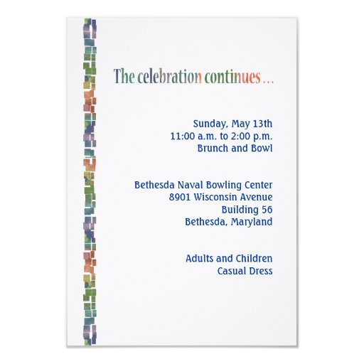 "Max Torah Reception3 3.5"" X 5"" Invitation Card"