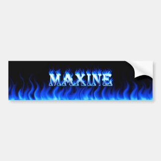 Maxine blue fire and flames bumper sticker design.