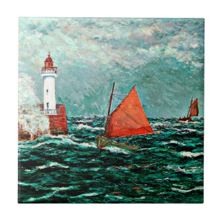 Maxine Maufra art: Back to Fishing Boats Tile