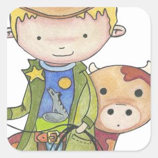 Maxou the cowboy square sticker