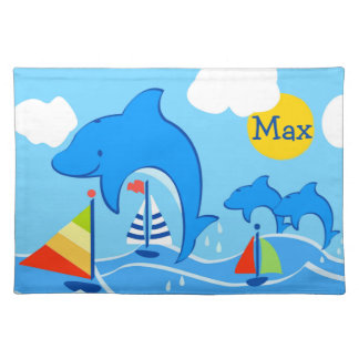 Maxwell the Dolphin Cotton Placemat