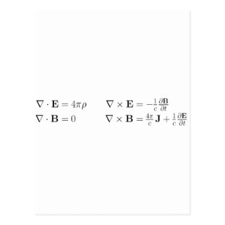 Maxwell's equations, differential form, cgs postcard
