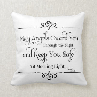 May Angels Guard You Nursery Quotes Throw Pillow