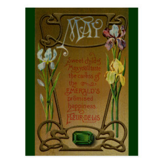 May Birthday Emerald and Irises Postcard